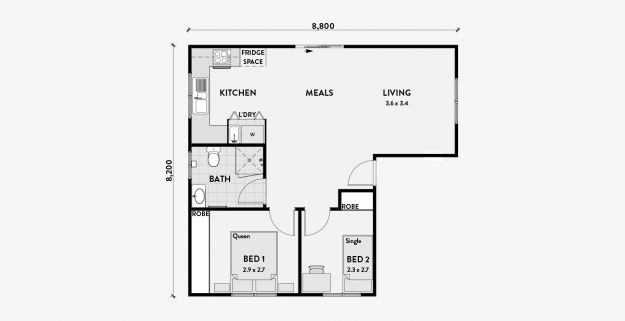 Ironbark 2 Bedroom 60m2